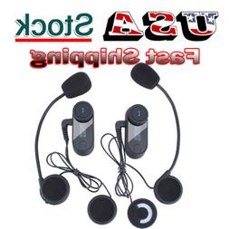 2x BT Motorcycle Headset Bluetooth Communication System Helm