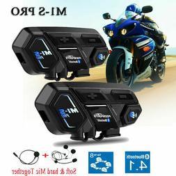 2x M1-S Motorcycle Intercom 2Km 8Way Bluetooth Helmet Headse