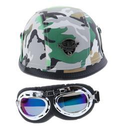 4 Colors Motorcycle Half Helmet with Sun Visor Goggles For A