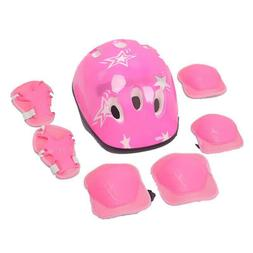 7Pcs Boys & Girls Kids Skate Cycling Bike Safety Helmet Knee