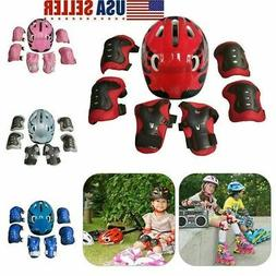 7PCS KIDS HELMET KNEE ELBOW PAD SET SWEGWAY GEAR SKATE CYCLI