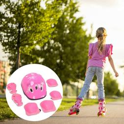 7Pcs Set for Kids Safety Helmet Knee Elbow Pad Cycling Skati