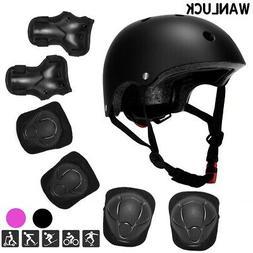 7Pcs Set Helmet Knee Elbow Adult Teens Kids Skateboard Safet