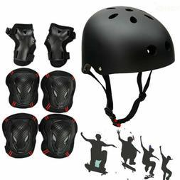 7prcs Protective Gear Helmet Knee Pads Adult Kids Set Cyclin