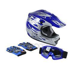 TCMT Dot Youth & Kids Motocross Offroad Street Helmet Blue F