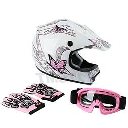 TCMT Dot Youth & Kids Motocross Offroad Street Helmet Pink B