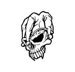 Baddass Jester Skull Decal  050