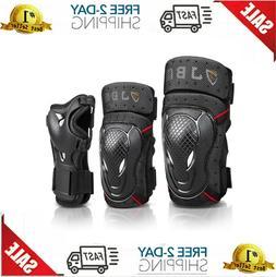 JBM Adult BMX Bike Knee Pads and Elbow Pads with Wrist Guard