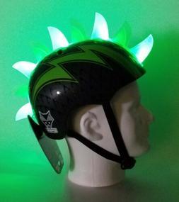 Raskullz Bolt Child Bike Helmet Ages 5 + 8  Black w/LED Gree