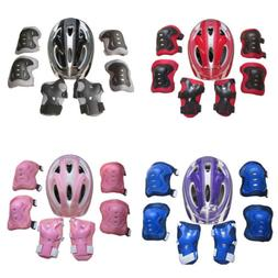 Boys Girls Kids Safety Helmet & Knee & Elbow Pad Set For Cyc