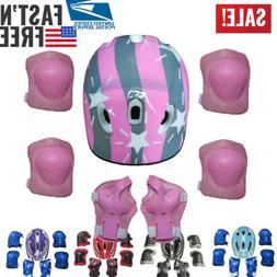 Boys Girls Kids Safety Helmet & Knee & Elbow Pad One Set For