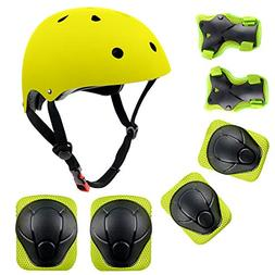 shuangjishan Child Multi-Sport Helmet with Knee Pads Elbow W