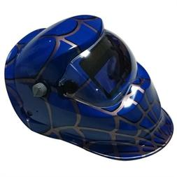 Custom Made Welding Helmets in Blue Shade with Spider Web Gr