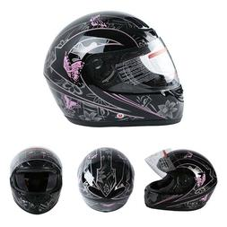 DOT Motorcycle Adult <font><b>Helmet</b></font> Butterfly Fu
