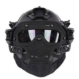 HYOUT Fast Tactical Helmet Combined with Full Mask and Goggl