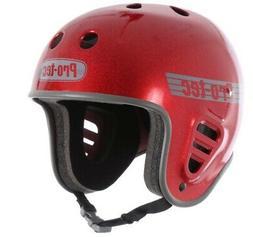 Protec Full Cut Helmet Red Flake Small