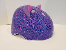 Girl's Purple & Pink Leopard Print Krash Helmet, Size Medium