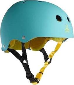 Triple Eight Helmet Teal Rubber Yellow Large Skate Helmets