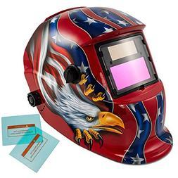 iMeshbean Auto Darkening Welding Helmet Solar Powered Hood M