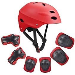 Kid Protective Gear Set Helmet Knee Pads Elbow Wrist Guards