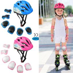 Kids Boys Girls Safety Roller Skating Bike Helmet Knee Elbow