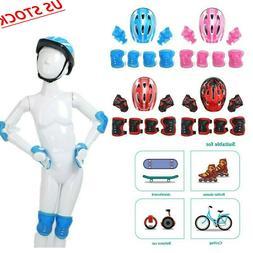 Kids Protective Gear Set Helmet Knee Wrist Guard Elbow Pad f