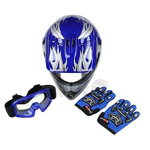 TCMT Dot Youth Helmet Motorcycle Helmet Bike Helmet+Goggles+gloves L
