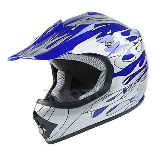 TCMT Kids Motocross Street Helmet Blue Motorcycle Helmet Helmet+Goggles+gloves