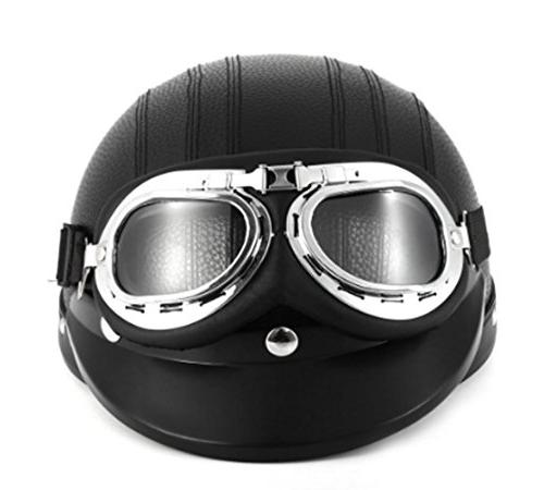 black synthetic leather vintage motorcycle