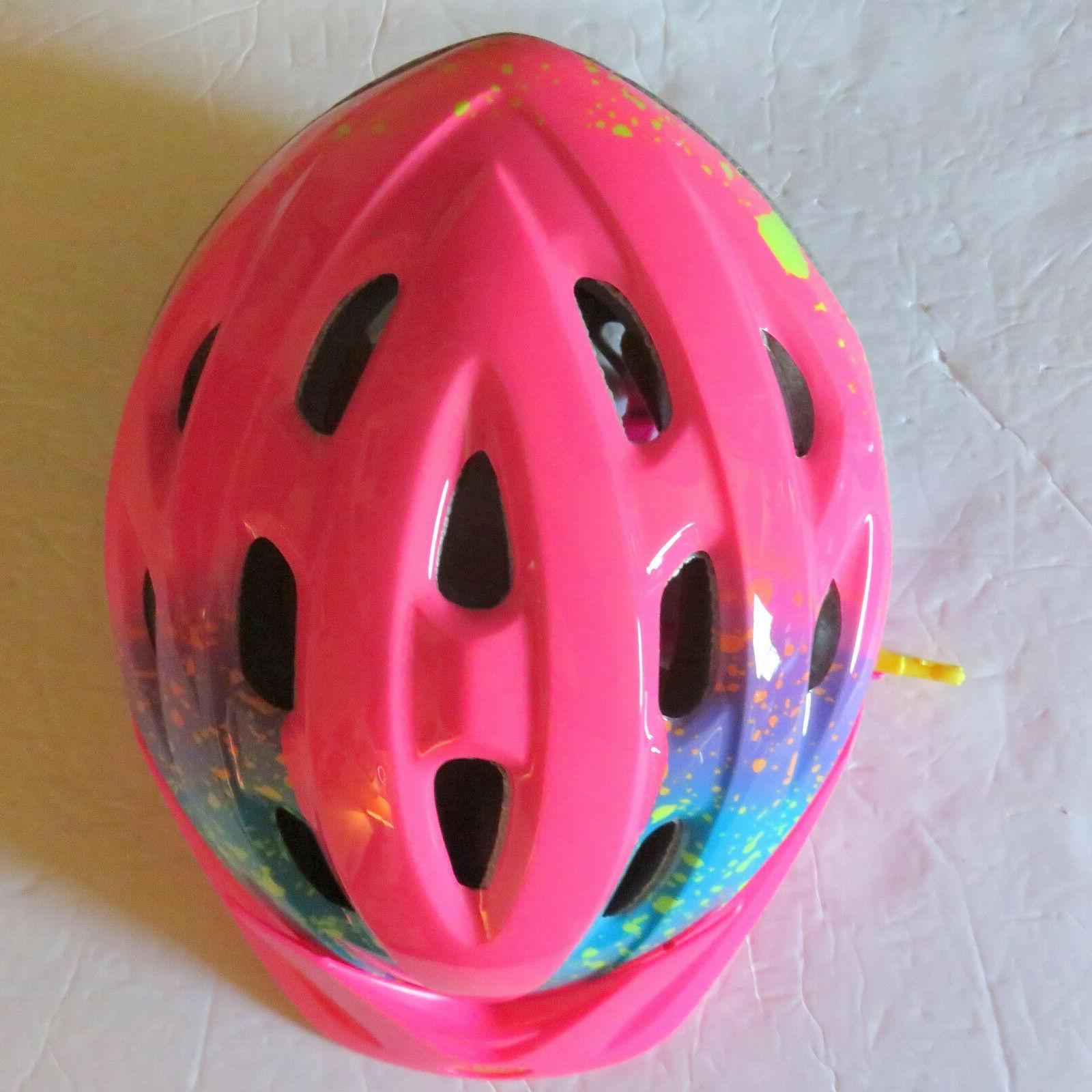 child rally bike helmet pink splatter stella