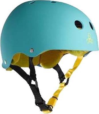 helmet teal rubber yellow skate