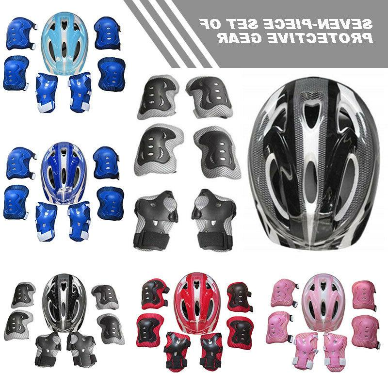 7pcs Kids Safety Helmet Bike Cycling Knee Elbow Wrist Pad Pr