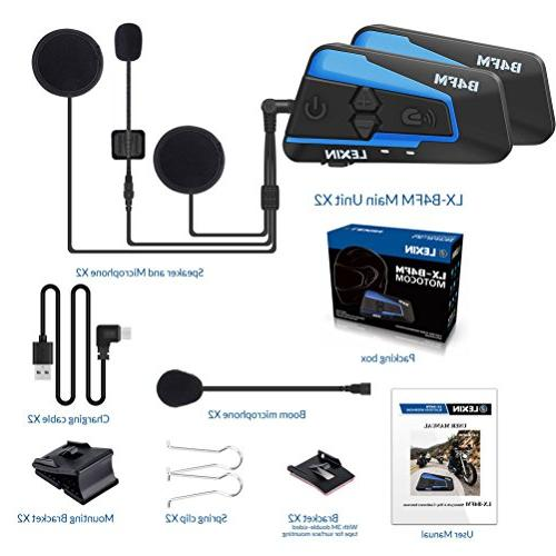 LEXIN 2pcs Motorcycle Bluetooth Radio, Motorcycle Helmet Headset With Cancellation Riders, Motorcycle/snowboard Wireless Audio