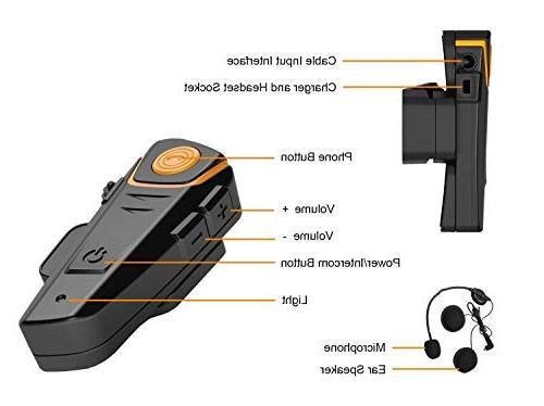 WingSport Motorcycle Bluetooth Headset,BT-S2 System Helmet Intercom Headphones for or