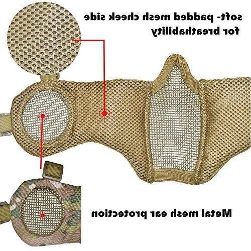 Jadedragon Tactical Helmet & Ear Foldable Straps Face Mesh & Goggle