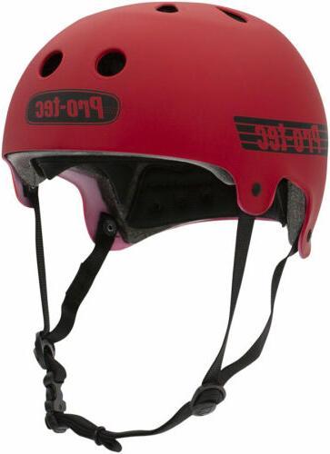 ProTec Old School Certified Helmet: Matte Red, SM