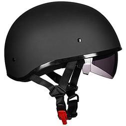 ILM Motorcycle half Helmet with Sunshield Quick Release Stra