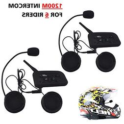 Motorcycle Helmet Bluetooth Intercom Headset, V6 BT 1200M Ra