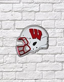 NCAA Wisconsin Badgers Football Helmet White Wall Art, Chrom