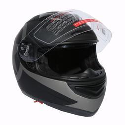 New Dot Star Matte Black Dual Visor Full Face Adult Motorcyc