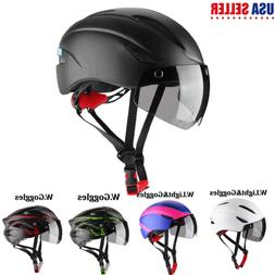 Night Cycling Helmet Bike Bicycle Helmet with Light and Gogg