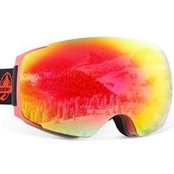 YAKAON OTG Ski Goggles UV Protection Snowboard Goggles Frame