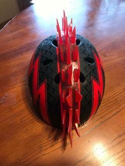Raskullz Red Mohawk Child Bike Helmets Red Lightning Bolt Ag