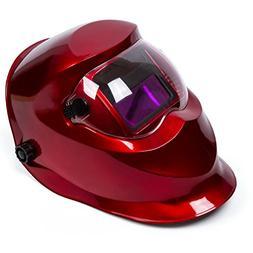 Red Solar Power Auto Darkening Welding Helmet Large View 3.6
