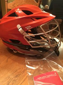 Cascade S Lacrosse Helmet. Custom Syracuse Orange with White