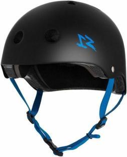 S-One Helmets - Lifer Matte Black with Cyan Straps -  S1 Lif