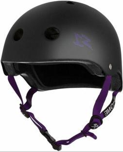 S-One Helmets - Lifer Matte Black with Purple Straps -  S1 L