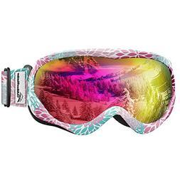 OutdoorMaster Kids Ski Goggles - Helmet Compatible Snow Gogg