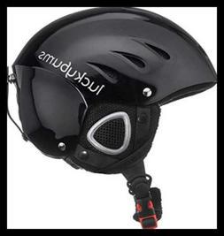 Snow Sport Helmet W Fleece Liner Metallic BLACK LARGE FREE S