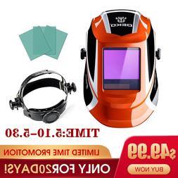 Solar Auto Darkening Orange Welding Helmet Arc Tig Mig Mask